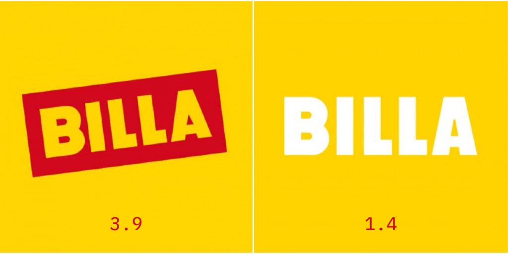 logo billa před a po redesignu